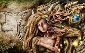 Картинка лес, листья, девушка, фон, стена, фэнтези, арт