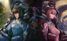 Картинка девушка, оружие, аниме, роботы, арт, шлем, парень