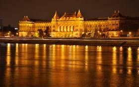 Обои небо, ночь, огни, река, дворец, Венгрия, Будапешт