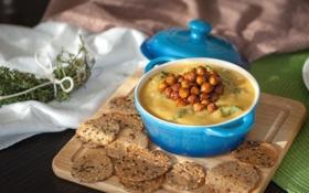 Картинка зелень, еда, суп, кастрюля, доска, крем, обед