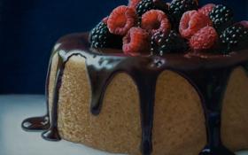 Картинка ягоды, малина, шоколад, торт, ежевика