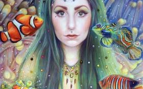Обои взгляд, вода, девушка, рыбы, волосы, арт