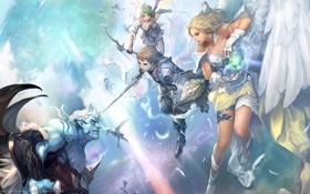 Картинка оружие, девушки, магия, крылья, ангел, меч, перья