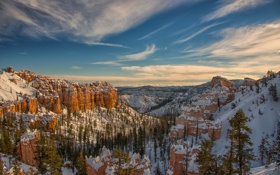 Картинка зима, снег, деревья, горы, скалы, Юта, США