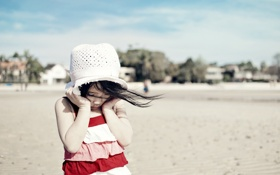 Обои лето, фон, портрет, девочка
