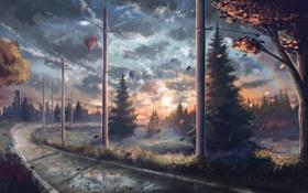 Картинка воздушные шары, дождь, столбы, рельсы, арт, фонари, нарисованный пейзаж