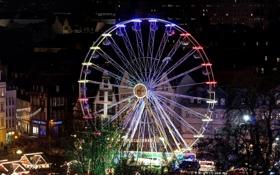 Обои ночь, город, огни, дома, колесо, Германия, Рождество