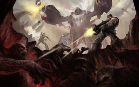 Обои оружие, робот, дыра, солдат, монстры, битва, Gears of War
