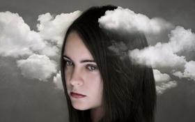 Картинка девушка, облака, портрет