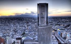 Картинка небо, машины, люди, дороги, небоскребы, Город, США