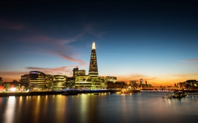 Картинка закат, мост, огни, отражение, Лондон, зеркало, Великобритания