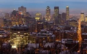 Обои Зима, Вечер, Город, Канада, Монреаль