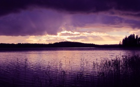 Обои вода, фиолетовая, the-calm-after-the-storm