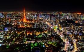 Обои ночь, город, башня, Tokyo