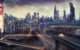 Картинка ночь, город, огни, фантастика, скорость, арт