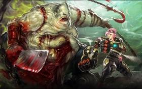 Картинка League of Legends, монстр, тесак, Dota 2, Pudge, девушка, арт