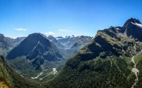 Картинка горы, Новая Зеландия, панорама, ущелье, Southland