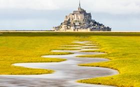 Обои замок, Франция, Нормандия, Мон-Сен-Мишель