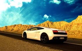 Обои облака, Lamborghini, небо, дорога