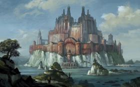 Картинка вода, пейзаж, озеро, камни, замок, скалы, человек