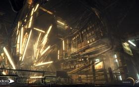 Обои лампы, арт, переулок, киберпанк, square enix, Deus Ex: Mankind Divided