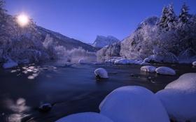 Картинка зима, снег, горы, река, Норвегия, Norway