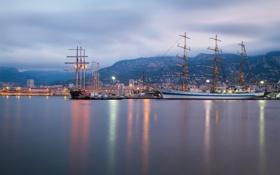 Обои море, горы, Франция, корабли, порт, France, парусники