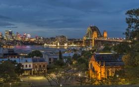 Обои ночь, мост, огни, река, Австралия, Сидней, набережная