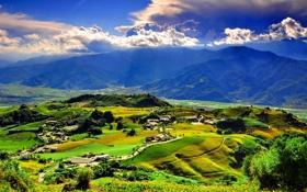 Обои горы, холмы, вид, поля, дома, долина, деревня