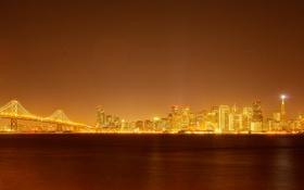 Обои ночь, мост, огни, дома, Сан-Франциско, США