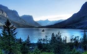 Картинка вода, горы, фото, пейзажи, hdr, widescreen wallpapers