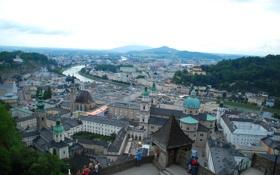 Картинка замок, река, небо, дома, Зальцбург, Австрия, гора