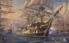 Обои море, корабли, пушки, арт, паруса, живопись, мачты