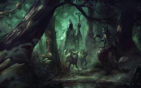 Обои лес, арт, сумрак, черепа, волки