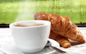 Обои капли, breakfast, croissant, завтрак, coffee, дождь, кофе