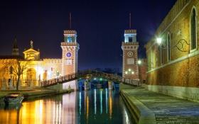 Картинка ночь, мост, огни, Венеция