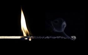 Картинка макро, огонь, спичка