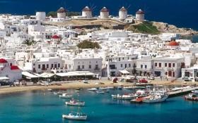 Картинка небо, море, лодки, яхты, греция, мельница, дома