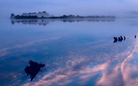Картинка вода, облака, природа, туман, отражение