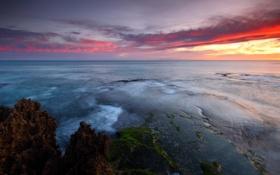 Обои небо, скала, камни, океан, Закат, австралия