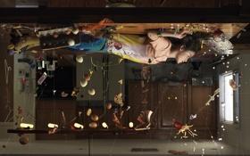 Картинка девушка, кровать, потолок