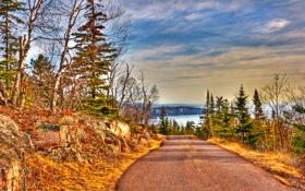 Картинка дорога, небо, облака, деревья, озеро, hdr