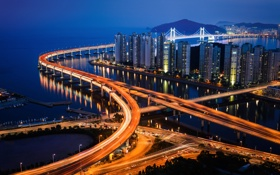 Обои город, огни, вечер, Южная Корея, Пусан