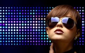 Картинка фиолетовый, свет, синий, лицо, отражение, Девушка, серьги