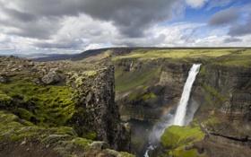 Картинка пейзаж, горы, водопад