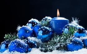 Картинка фон, праздник, новый год, свеча, елочные игрушки