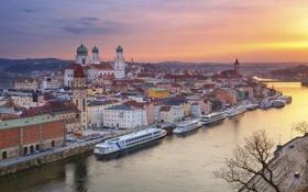 Обои река, дома, Германия, Бавария, собор, Дунай, Пассау
