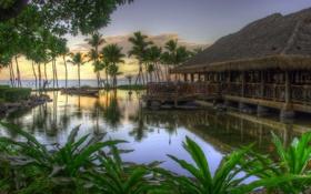 Картинка море, пейзаж, пруд, пальмы, океан, обои, лодка