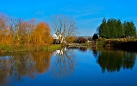 Обои осень, небо, деревья, дом, пруд