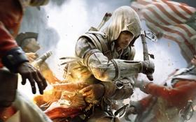 Обои оружие, флаг, индеец, ассасин, коннор, Assassins creed 3